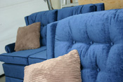 final view fo the upholstery work, beautiful blue sofa